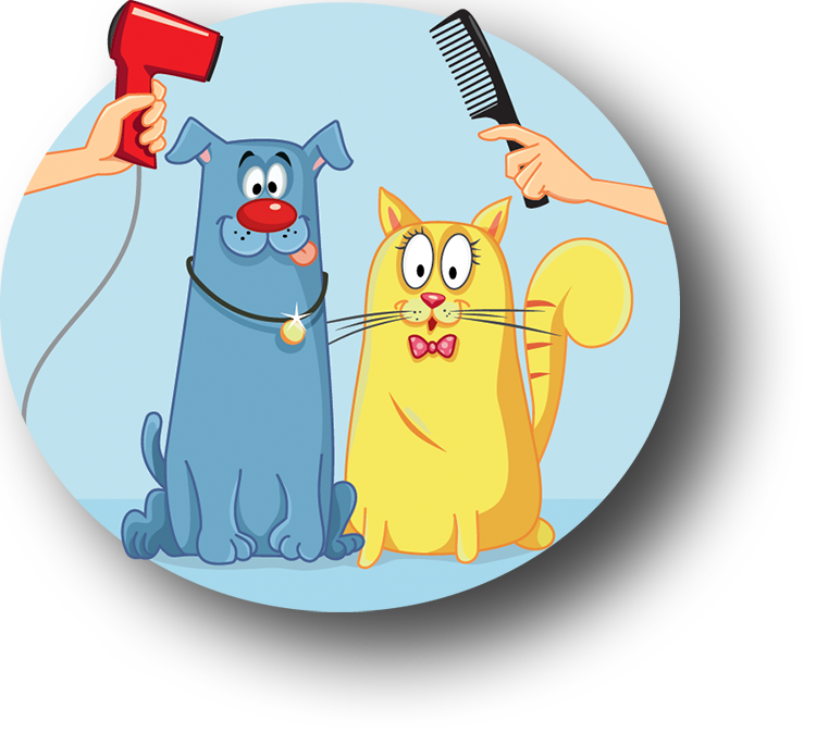 Dog and cat bath clipart. The barking lot pet