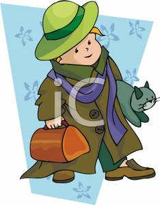 Boy Carrying a Cat and a Suitcase - Royalty Free Clipart Picture graphic library stock