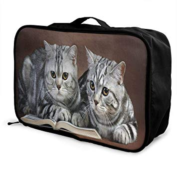 Cat carrying suitcase clipart clip download Amazon.com | Travel Bags Reading Cats Portable Duffel Trolley Handle ... clip download