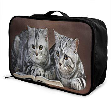 Amazon.com | Travel Bags Reading Cats Portable Duffel Trolley Handle ... clip download