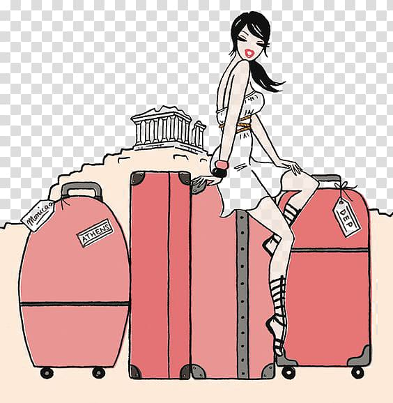 Woman carrying illustration travel. Free clipart of globe luggage and female traveler