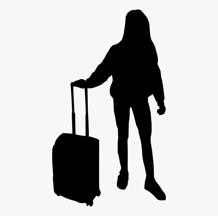 Suitcase Clipart Silhouette - Silhouette People With Luggage ... picture transparent library