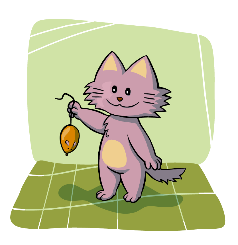 Cat chasing a mouse clipart