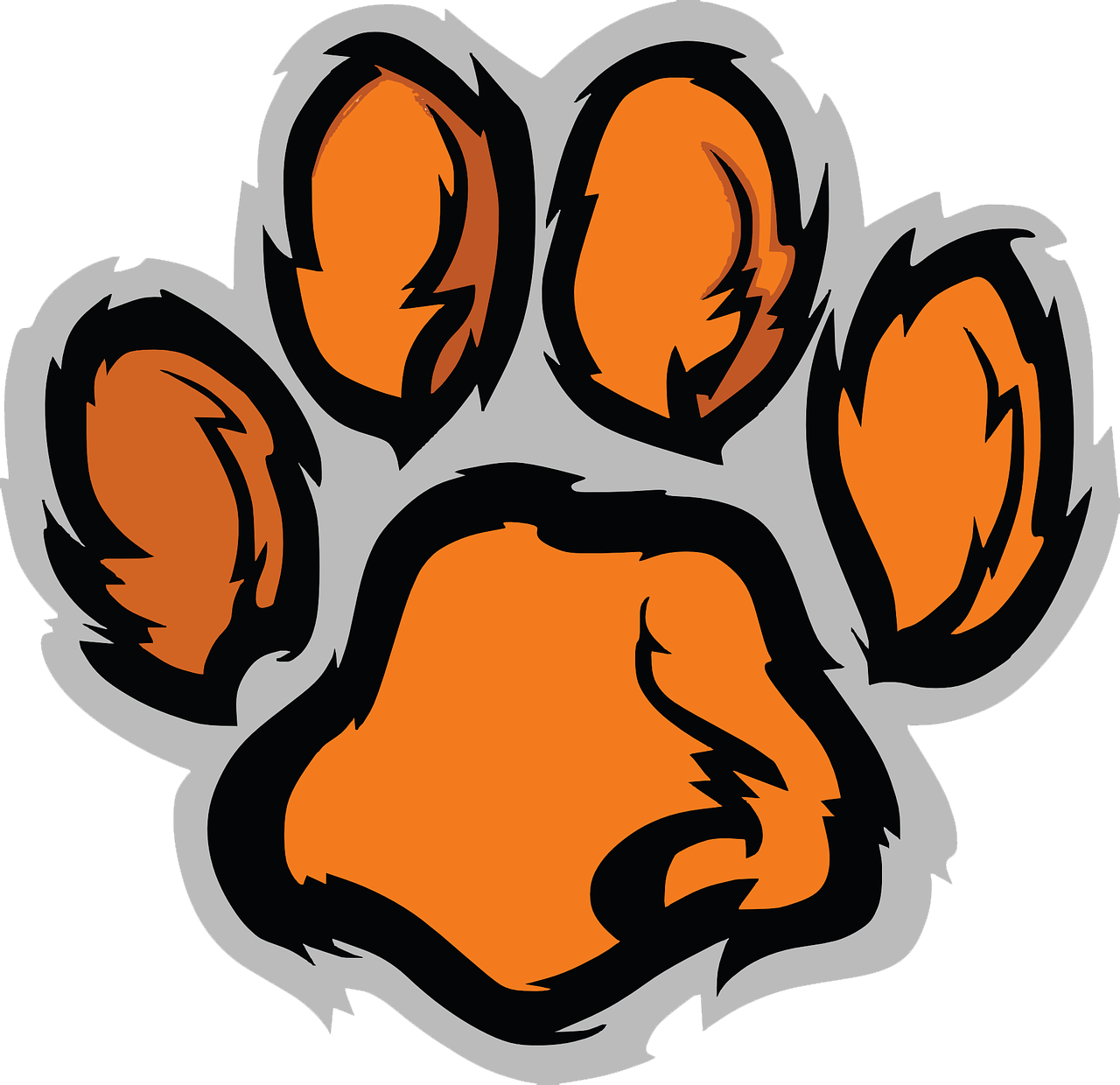 Clemson football clipart jpg stock Tiger Paw Clemson University Clip art - Cute cat claws 1280*1240 ... jpg stock