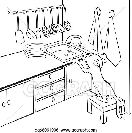 Cat climbing structure clipart black and white clip library stock Vector Illustration - Cat in the kitchen. EPS Clipart gg58061906 ... clip library stock
