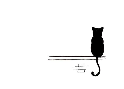 Cat climbing structure clipart black and white royalty free download Cat Drawing - Simple Black and White Art Print - Sitting and Waiting ... royalty free download