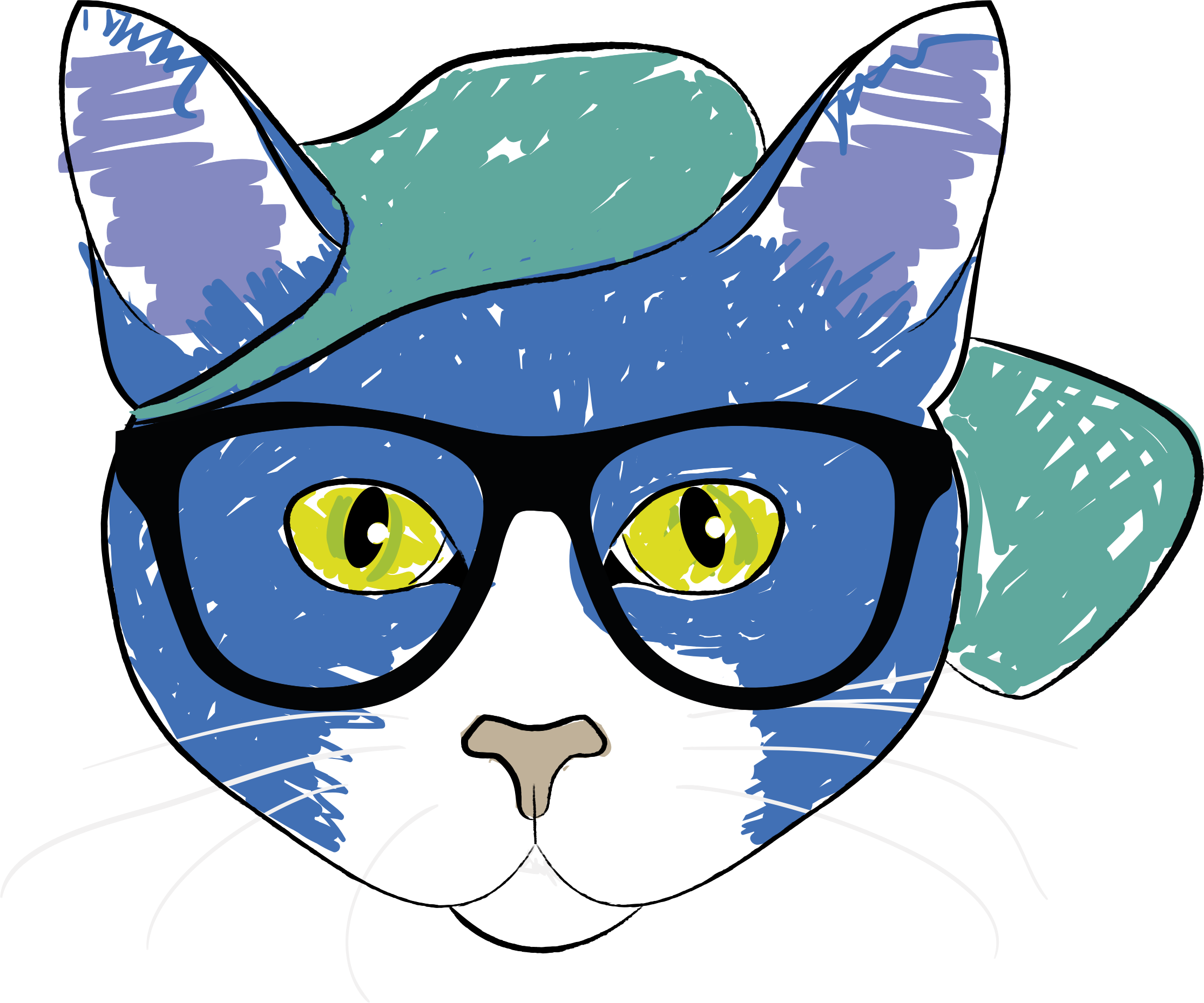 Cat wearing a hat clipart freeuse library Clipart - Cat Wearing Glasses freeuse library