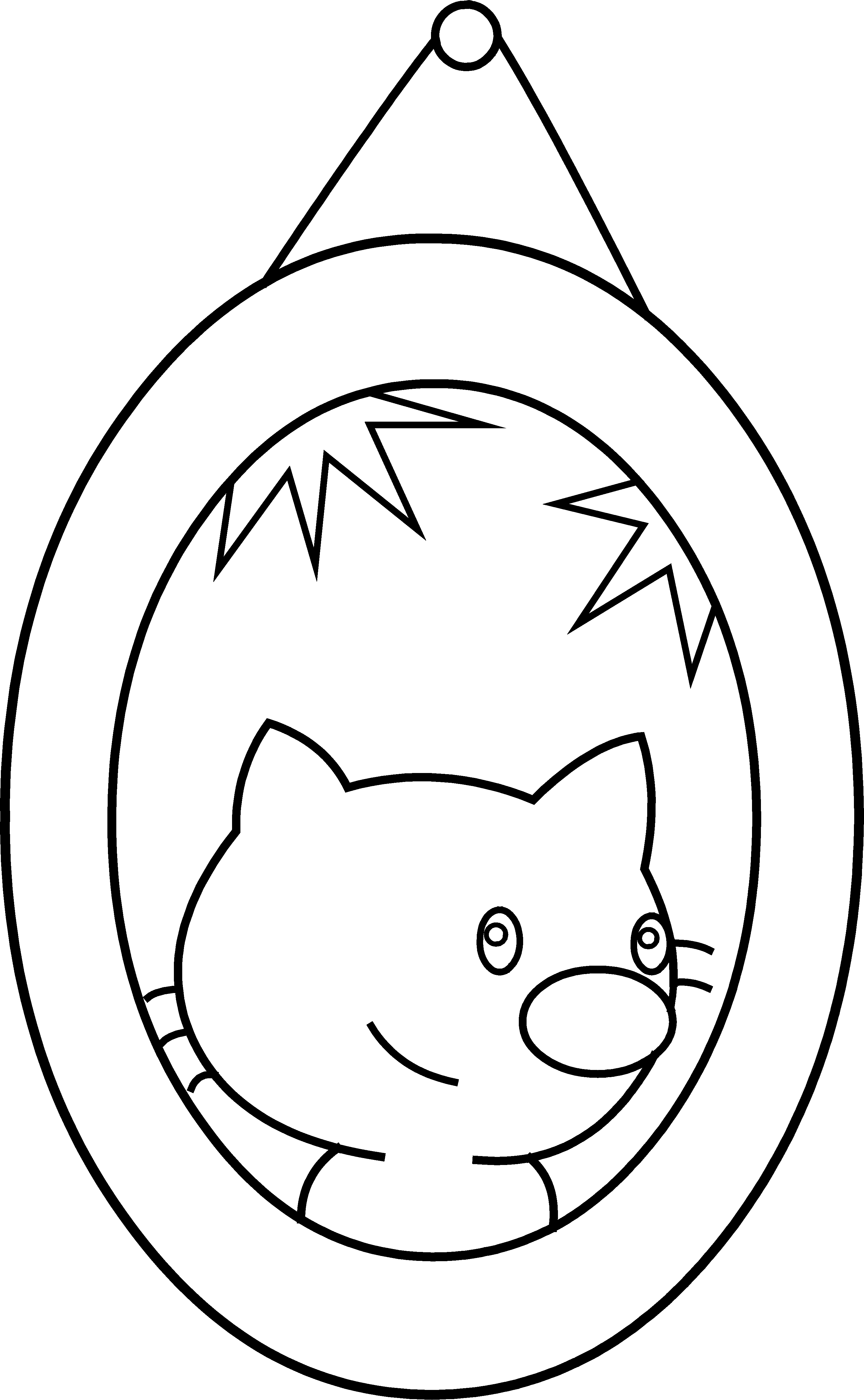 Cat clipart coloring page picture free stock Cute Cat Portrait Coloring Page - Free Clip Art picture free stock