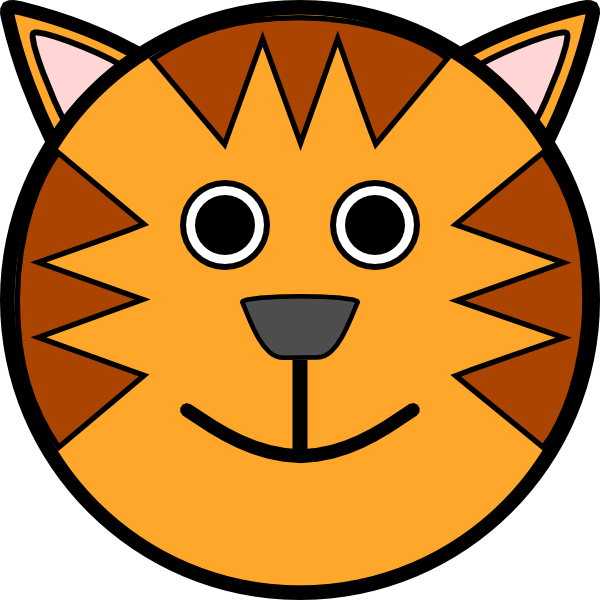 Cat head outline clipart banner library Tiger Face Clip Art at Clker.com - vector clip art online, royalty ... banner library