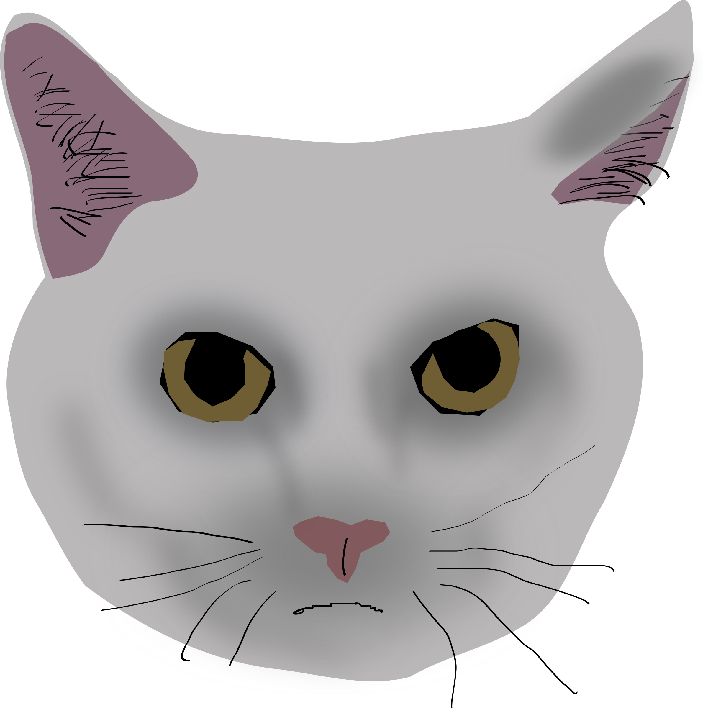 Cat eyes and nose clipart image black and white Clipart - Cat head (prototip) image black and white