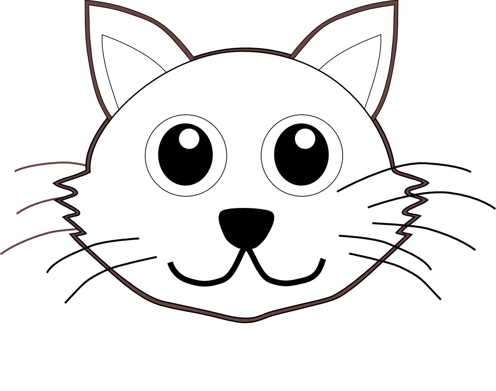 Cat clipart to color svg transparent library Cat Face Coloring Pages – Color Bros svg transparent library