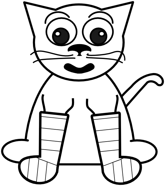 Cat clipart to color vector download clipartist.net » Clip Art » cat in rainbow socks bw black white ... vector download