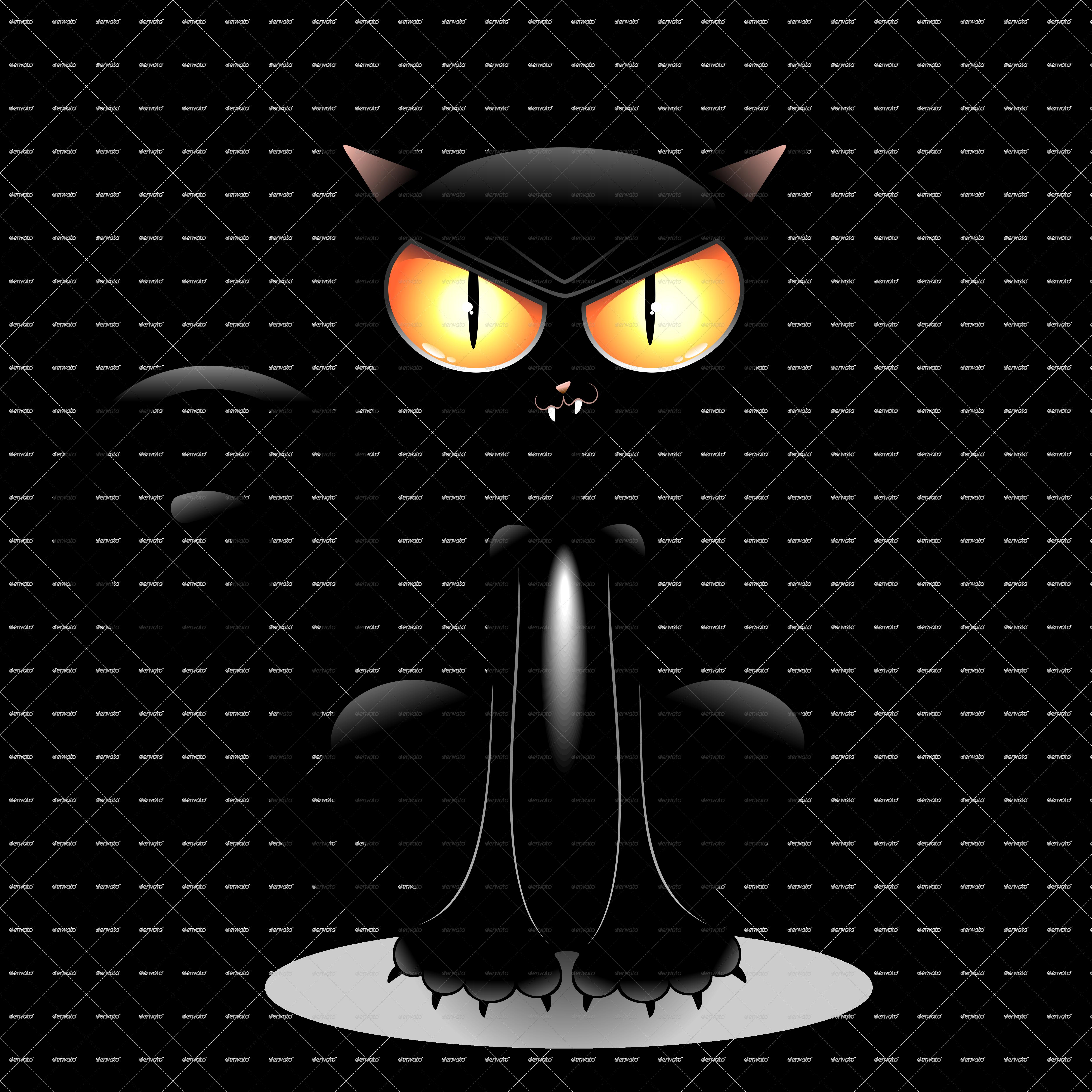 Evil black cat clipart picture black and white download Cartoon Black Cat (30+) Desktop Backgrounds picture black and white download