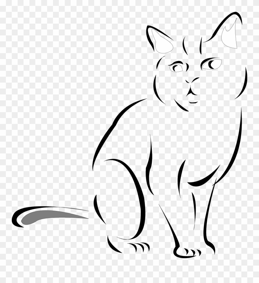 Cat drawing clipart down clip art download Black And White Cat Drawingcat Line Drawings Clipart - Cats Clipart ... clip art download