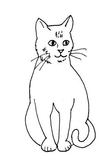 Cat drawing clipart down