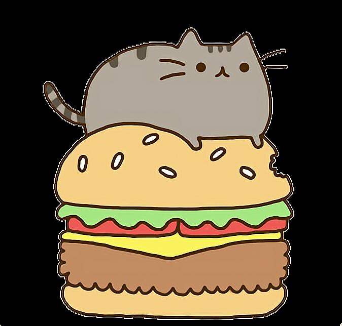 Cat eating food clipart svg free stock cat gato gatito kawaii comer eat hamburger hamburguesa... svg free stock