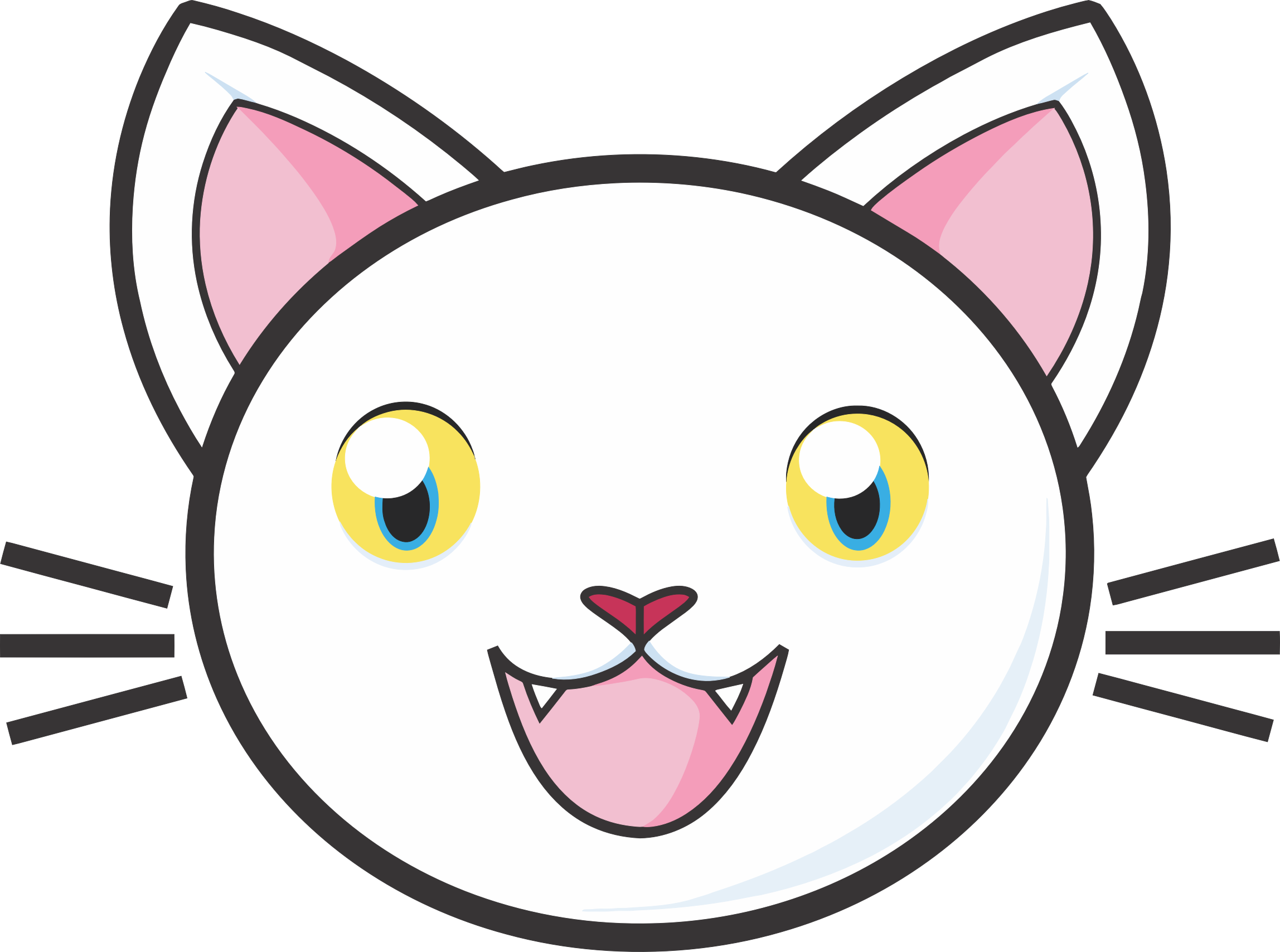 Cat eyes and nose clipart png transparent stock Clipart - Happy White Cat 2 png transparent stock