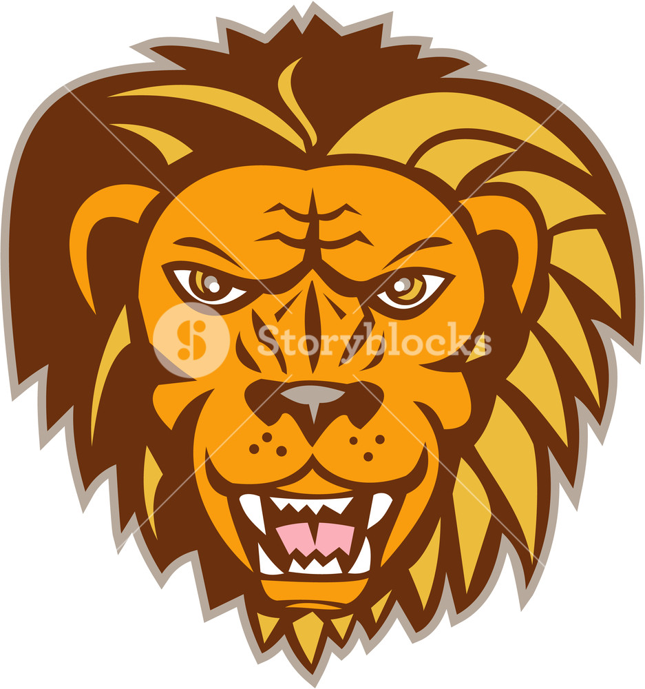 Illustration of an angry lion big cat head growling showing teeth ... banner free