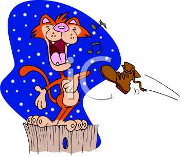 Cartoon Clip Art Picture of an Alley Cat Singing on a Fence At Night ... jpg stock
