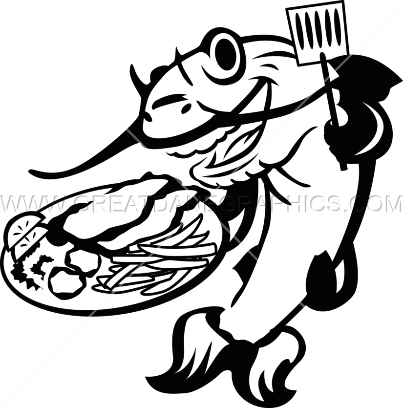 Fish fry tilapia clipart black and white. Catfish line drawing at