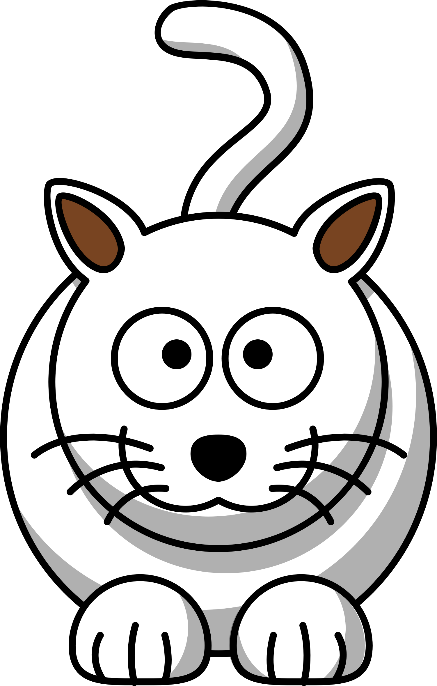 Cat head black and white clipart vector free stock Clipart - White cat vector free stock