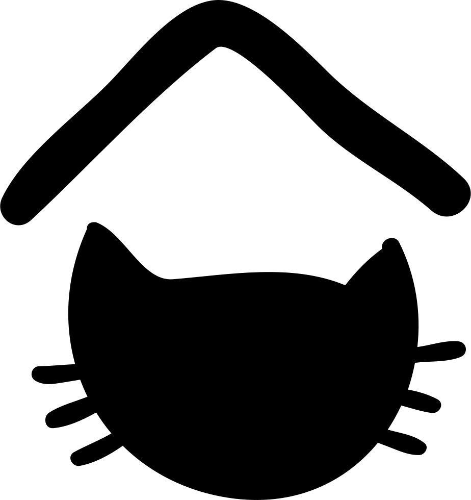 Cat head silhouette clipart banner black and white Pet Hotel Sign With Cat Head Silhouette Svg Png Icon Free Download ... banner black and white