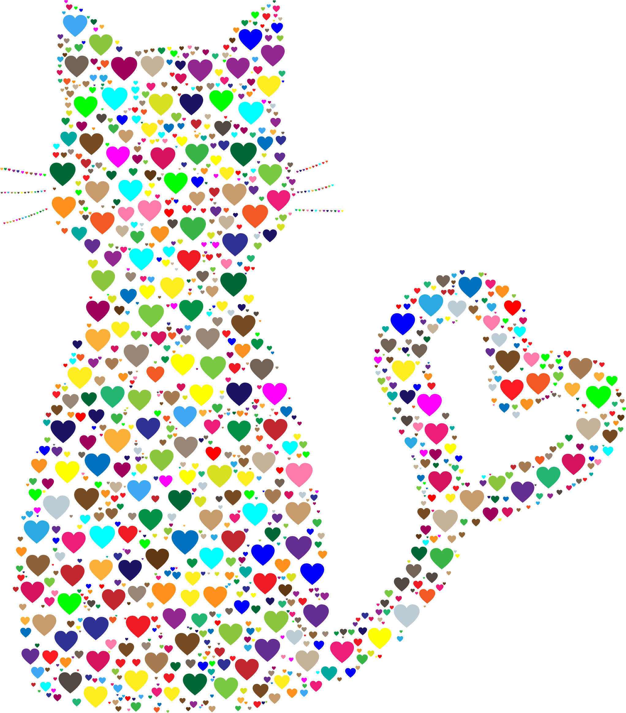 Cat heart tail clipart png library stock Colorful heart clip art 6769935 - billigakontaktlinser.info png library stock