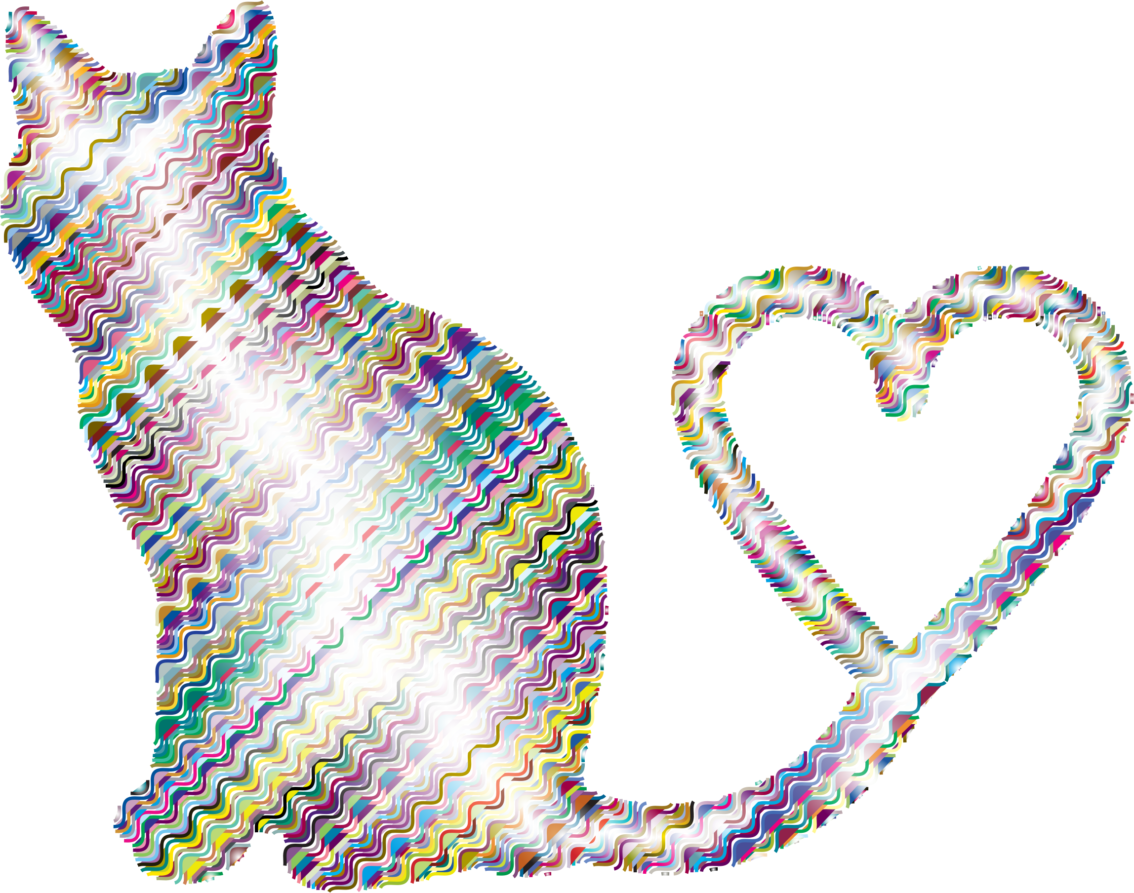 Cat heart tail clipart jpg library download Clipart - Cat 2 Silhouette Heart Tail Waves 2 jpg library download