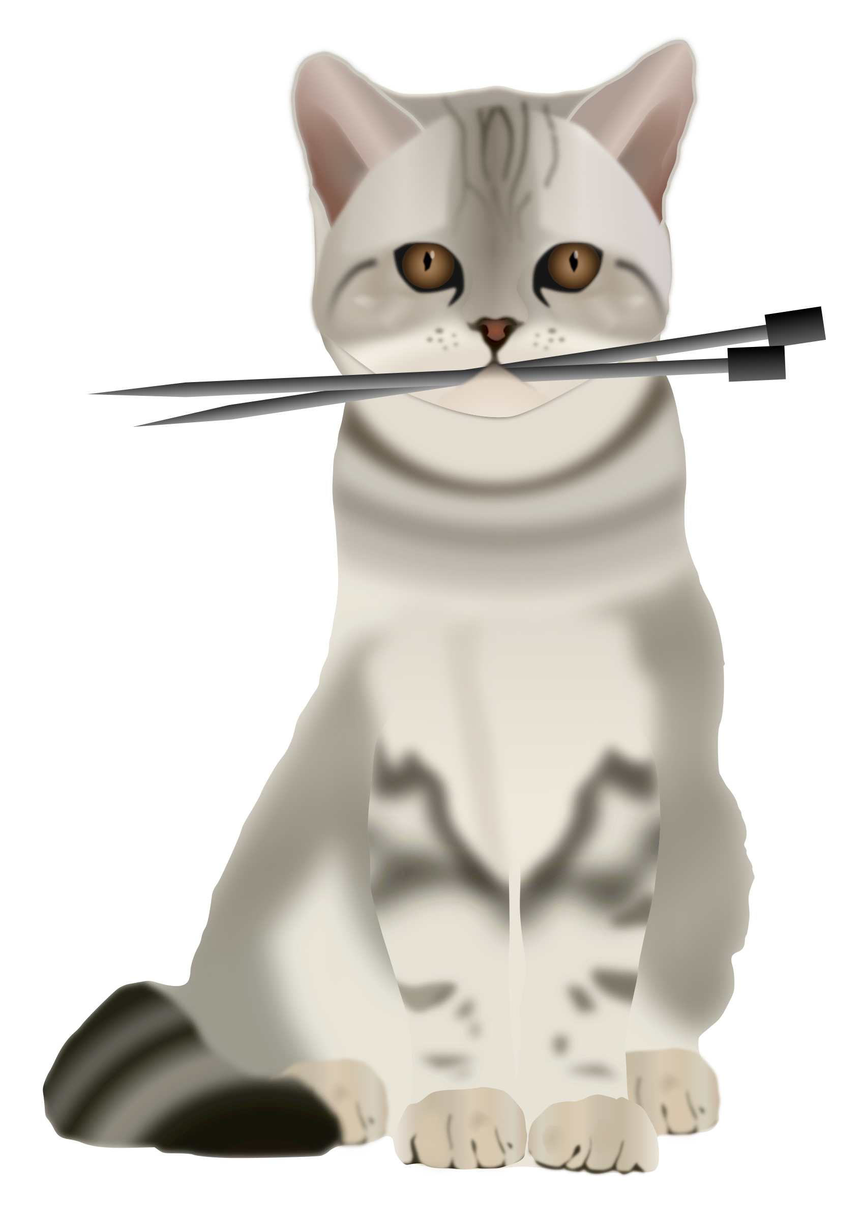 With knitting needles big. Domestic cat clipart