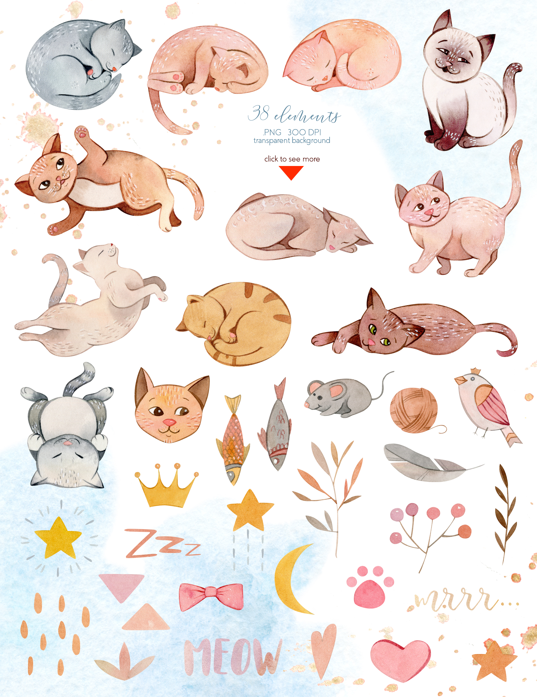 Watercolor Cats Illustrations Clipart clipart freeuse stock