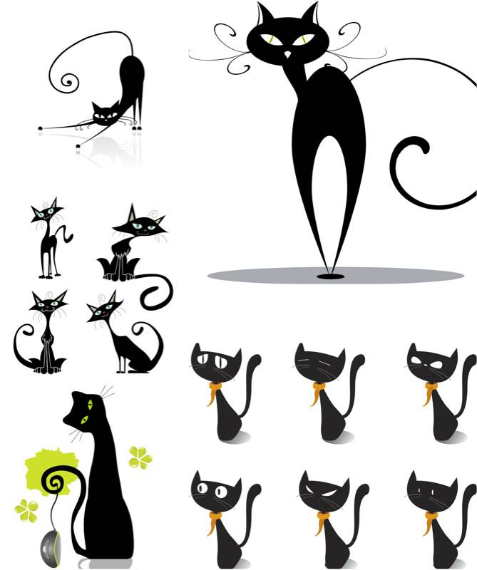 Pin by cassandra bettini on Character Design | Cat vector, Black cat ... vector library download