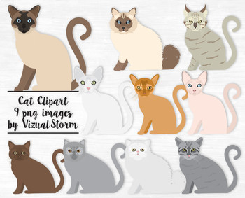 Cat illustrations clipart svg royalty free library Cat Clip Art, 10 Hand Drawn Cat Illustrations, Popular Cat Breeds svg royalty free library