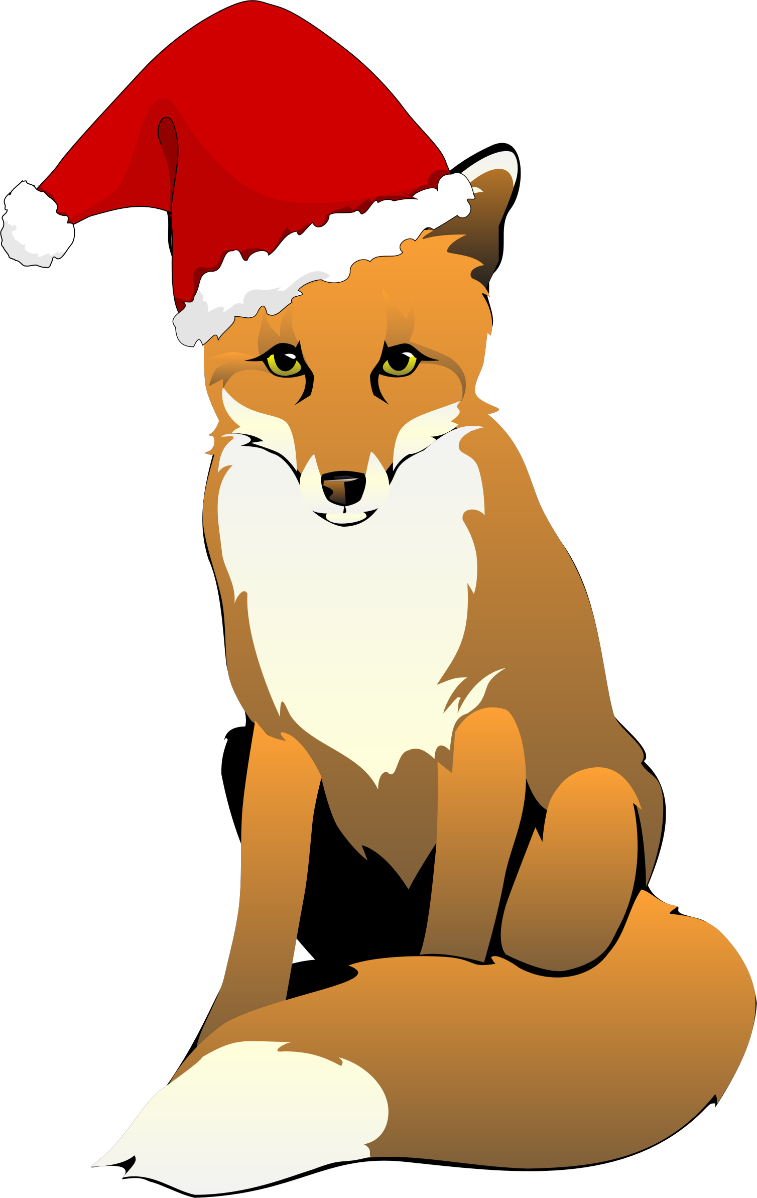 Clipart - Fox Wearing Santa Hat png stock