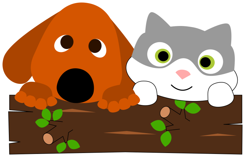 Pet cat clipart clip free library Clipart - A dog and a cat behind a tree trunk clip free library