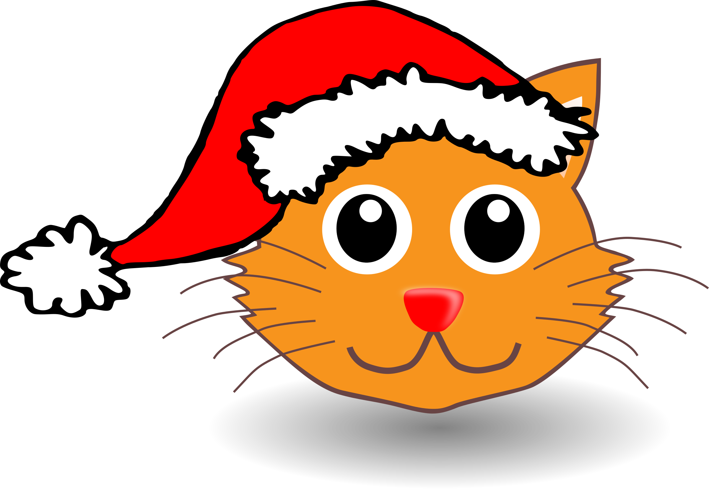 Orange cat face clipart graphic royalty free stock Clipart - Funny kitty face with Santa Claus hat graphic royalty free stock