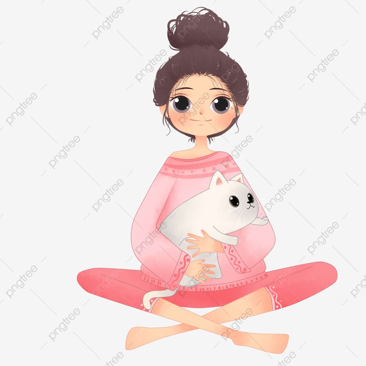 Hand Drawn Girl In Pajamas Holding Cat, Hand Painted, Literary, Girl ... jpg library download