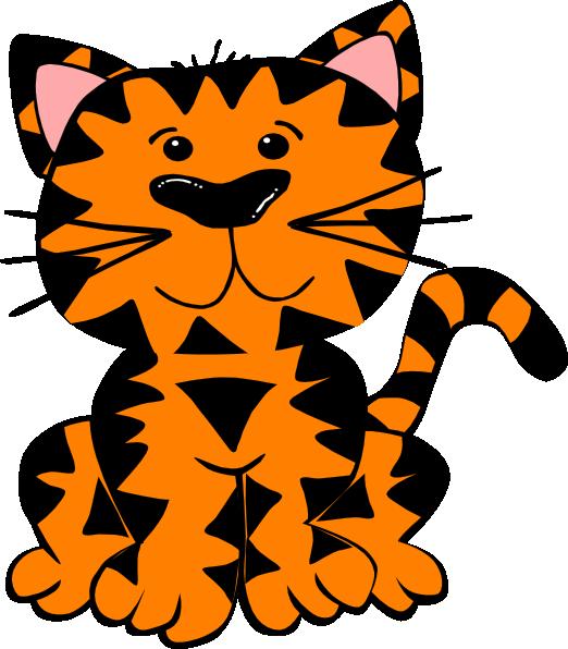 Orange tabby cat clipart vector black and white Tiger Clip Art at Clker.com - vector clip art online, royalty free ... vector black and white