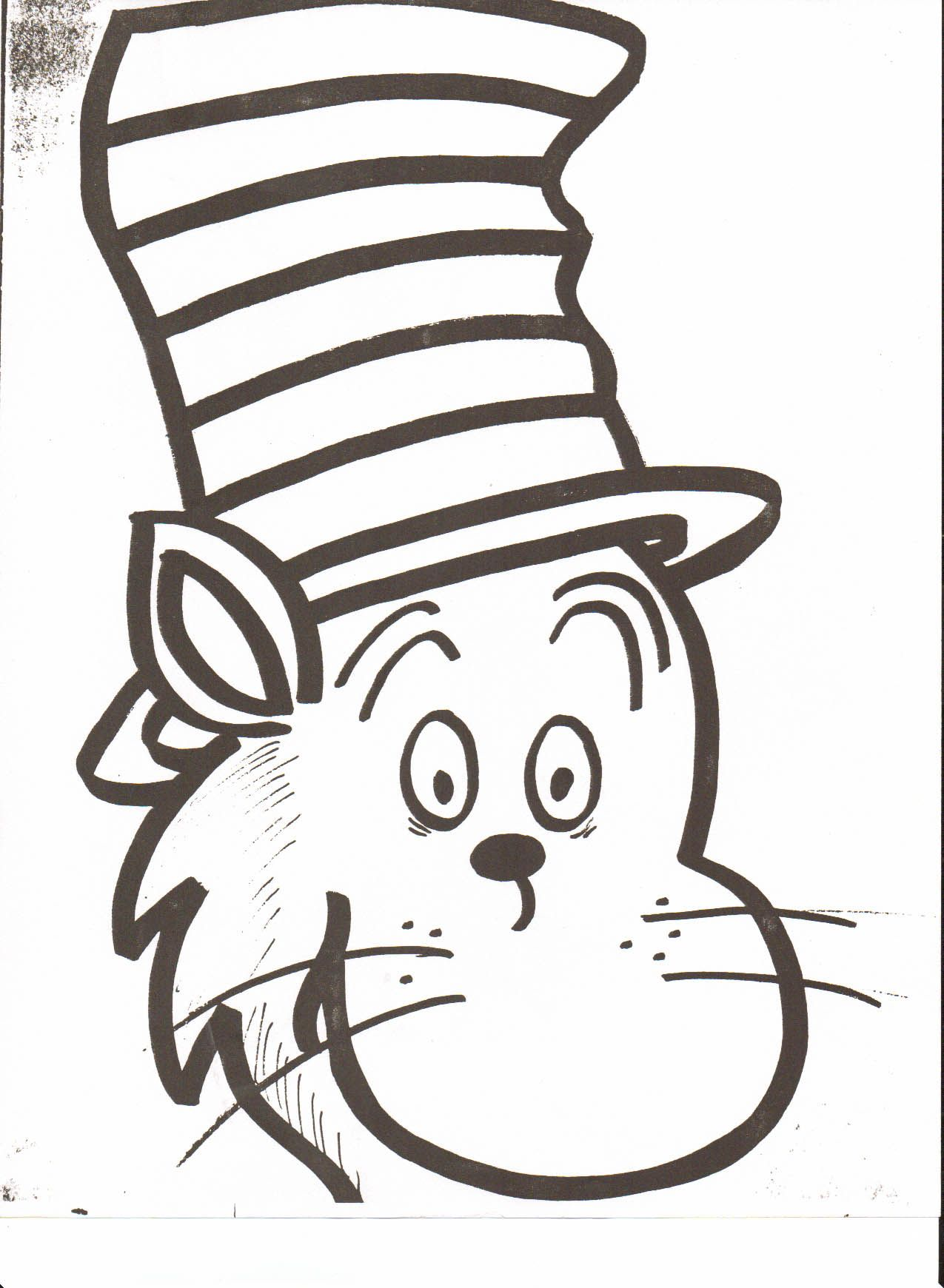 Cat in the hat clipart line drawing picture free library Very Attractive Cat In The Hat Face Printable Dr Seuss Head Coloring ... picture free library
