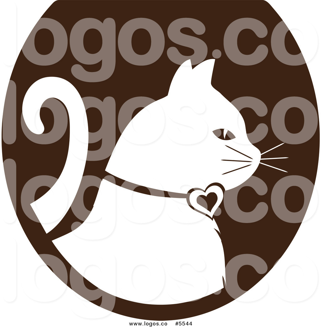 Cat logo clipart vector free download Royalty Free Vector of a Logo of a White Cat Profiled over a Brown ... vector free download