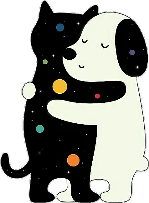 Dog and cat love clipart clip black and white download dog cat love space tumblr sticker... clip black and white download