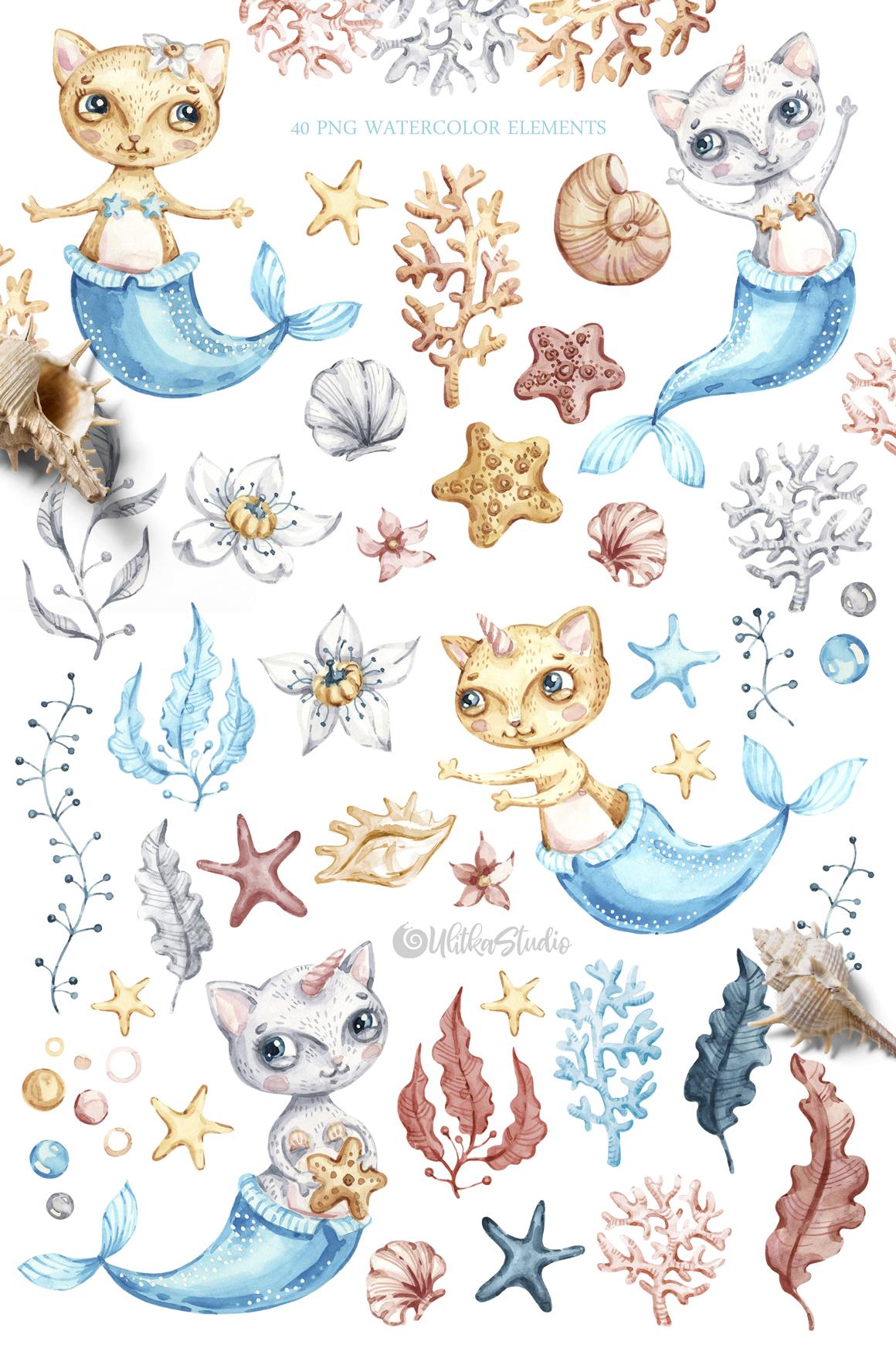 Cat mermaid clipart vector freeuse Watercolor cute mermaid cat clipart. Nautical underwater clip art ... vector freeuse