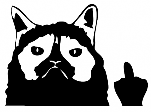 Cat middle finger clipart picture freeuse library Clipart Free Library Grumpy Finger Decal Stick - Grumpy Cat Middle ... picture freeuse library