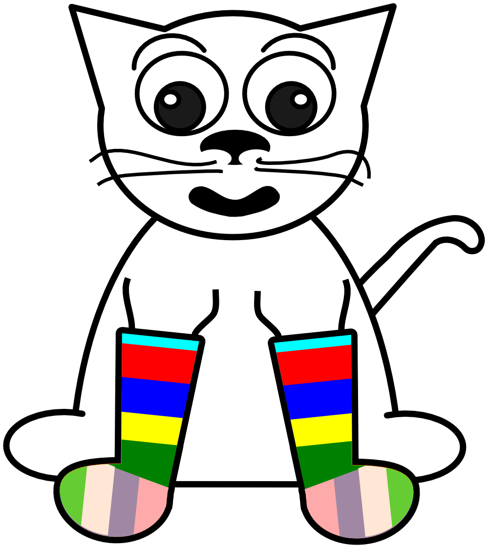 Cat on books clipart jpg transparent download clipartist.net » Clip Art » cat in rainbow socks black white line ... jpg transparent download