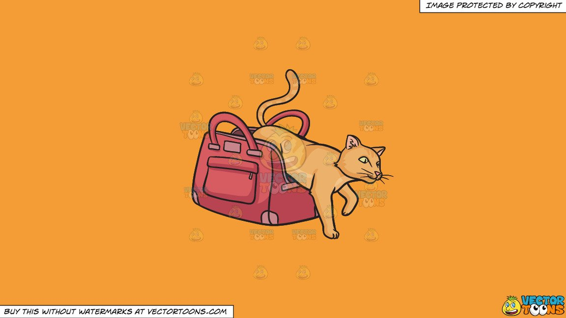 Cat out of the bag clipart jpg black and white stock Clipart: Let The Cat Out Of The Bag on a Solid Deep Saffron Gold F49D37  Background jpg black and white stock