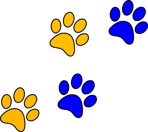 Cat paw clipart navy blue clip black and white stock Blue/gold Paw Print Clip Art at Clker.com - vector clip art online ... clip black and white stock
