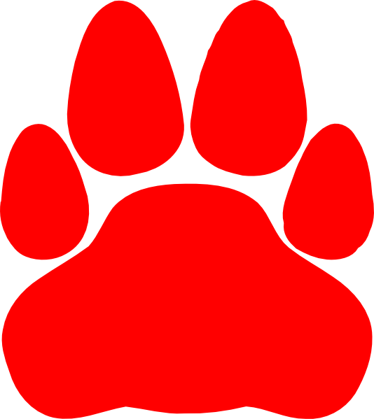 Clipart cat paw print jpg freeuse library Red Cat Paw Print Clip Art at Clker.com - vector clip art online ... jpg freeuse library