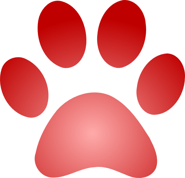 Cat paw prints clipart picture stock Red Paw Print With Gradient Clip Art at Clker.com - vector clip art ... picture stock