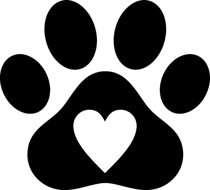 Cat pawprint clipart picture free Paw Print with Heart Rubber Stamp | Dog, Cat & Fur Baby Stamps ... picture free