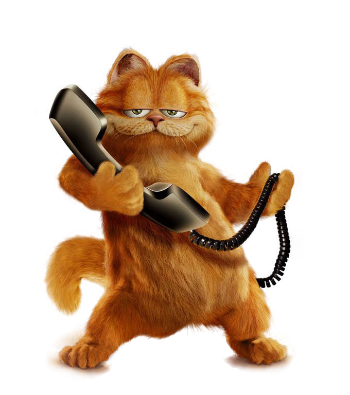 Cat phone clipart svg library download Garfield with Phone PNG Free Picture | Gallery Yopriceville - High ... svg library download