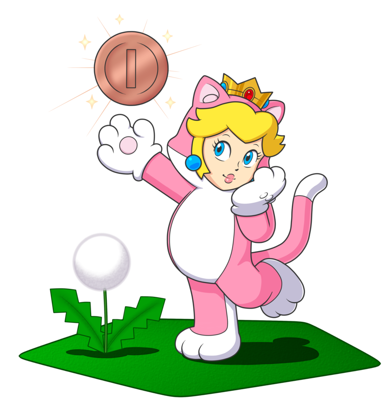 Cat playing with ball clipart svg library download Cat Princess Peach and her lucky pink gold coin by IndigoWildcat on ... svg library download